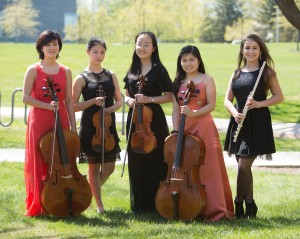 The Finalists of the 2013 Young Artists Competition (L to R: Sophie Wheeler, Gwendolyn Howard, Christine Junhui Liu, Isabella Palacpac, & Lara Balikci)